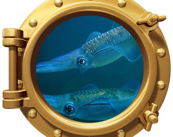 Porthole Wall Fabric Color Decal  With Squid 12 In Removable Reusable