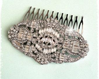 "1920s Art Deco Great Gatsby Inspired Crystal Comb Wedding Hair Accessory-Vintage Bridal Headpiece-Art Deco Swarovski Crystal Comb-""JORDAN"""