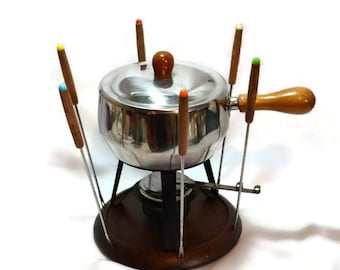 Danish Modern Fondue Set - Complete  - 6 Colored Fondue Forks - Stainless Steel Pan - Lid w/ Wood Knob - Sterno or Candle Holder - Wood Base