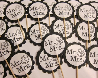 Set of 24 Mr and Mrs Wedding cupcake toppers