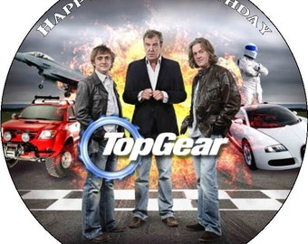 """Top Gear Personalised Pre Cut Icing/Rice Paper Cake Topper 7.5"""""""