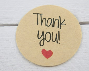 50 x kraft-style thank you stickers (36mm diameter) for gifts presents packages