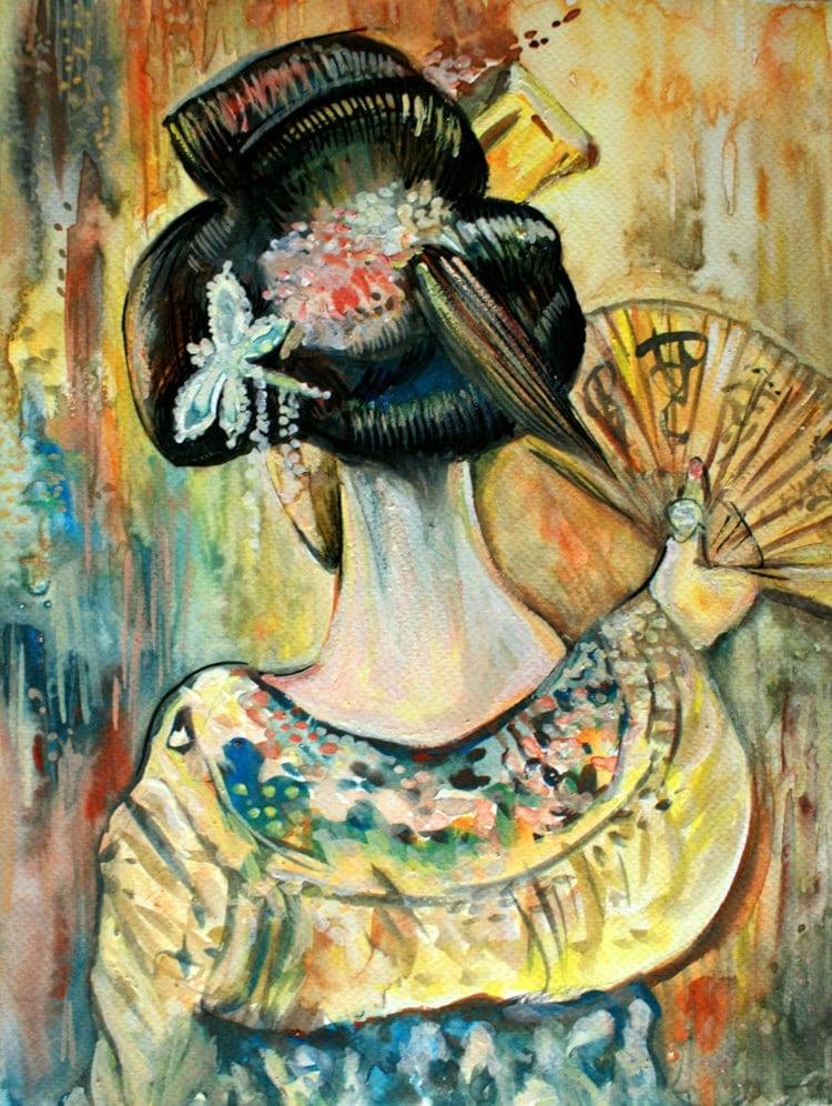 Japanese geisha original watercolour painting japanese for Japanese watercolor paintings