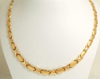 """14k yellow gold XOXO Hugs and Kisses  Necklace Chain 17.5"""""""