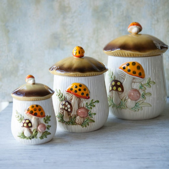 Vintage Mushroom Kitchen Decor: Set Of 3 Canisters Merry Mushroom 1970s By RoostersNestVintage