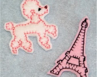 Poodle and Eiffel Tower Felties Embroidery Machine Designs for the 4x4 hoop