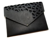 Leather Cutout Clutch (Partially Cutout Front), Hand Cut Handbag