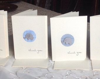 Baby Shower Thank you Cards, Baby Thank you cards, Kraft thank you cards, Baby Boy thank you,  Set of 12, Blue thank you cards.
