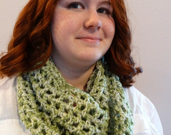 Crocheted cowl neck scarf.
