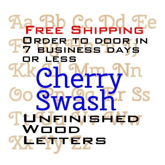 Unfinished Wood Letters, Quantity of 1, Cherry Swash, Wood Craft Letters, laser cut wood wood, birch, wooden, wall