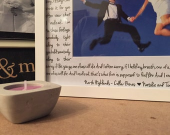 Your Words Handwritten on 8x10 or 11x14 Matte ; Lyrics, Vows, Quotes.. Anything!