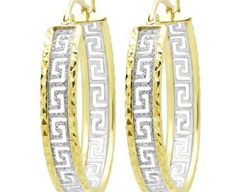 Gold Hoop Earrings Greek Key Earrings Hoop Earrings Italian Gold Earrings Greek Key Hoops Gold Fashion Earrings in 10K Yellow and White Gold