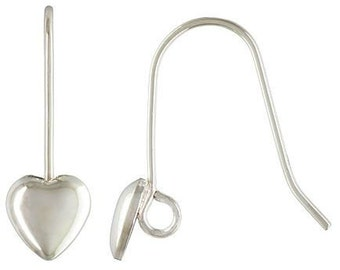 Sterling Silver Puffed Heart Earwire   - 5 pair