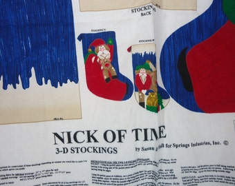 2 Nick of Time  3-D christmas stocking to make that has santa and reindeer in 3 -D