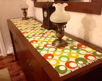 Linen table runner-linen table cloth-yellow,green table runner-fall runner-decorative runner-patterned runner-geometric pattern