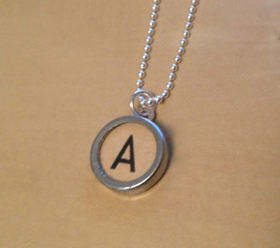 letter a typewriter charm necklace custom necklace