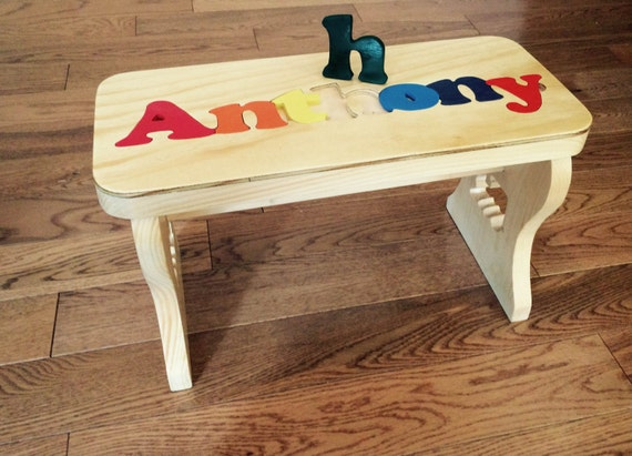 Personalized Handcrafted Name Puzzle Bench By