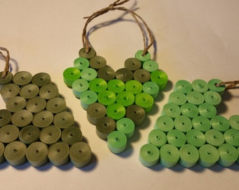 Handmade Set of 3 Paper Quilling Hearts in Shades of Green Ornament, Wall Art, First Anniversary