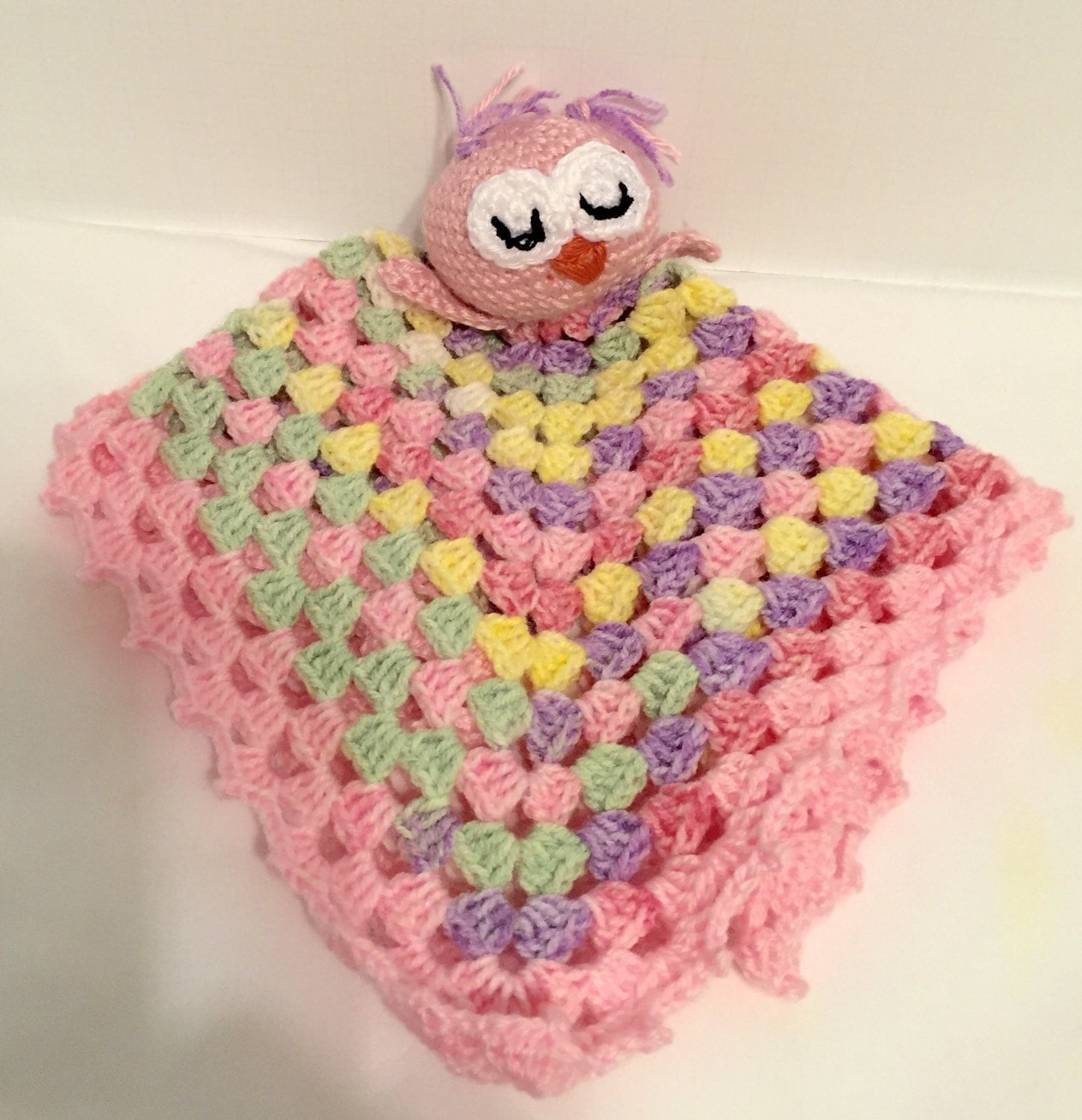 Crochet Owl Blanket : Crochet Owl Security Blanket by TooTinyTooCute on Etsy