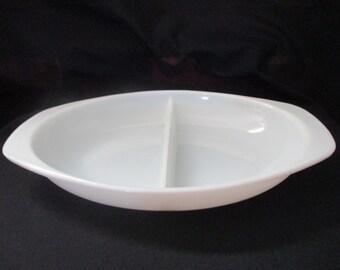 Vintage Pyrex White Opal Divided Casserole Dish #1063, 1 1/2 qt., 1959 to 1967