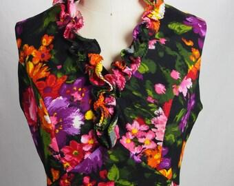 Vintage 1970s Short Floral Dress