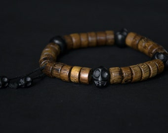 Men's Robles Wood & Skulls Bracelet