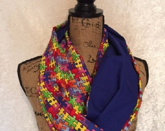 Autism Awareness Scarf Infinity Scarf Puzzle Pieces