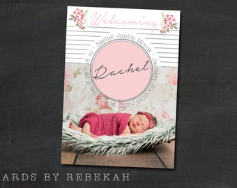 Girl's Birth Announcement Template - Picture, Stats, Hand Drawn Antique Flowers
