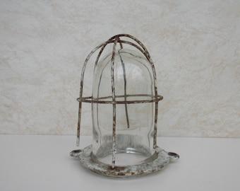 Industrial wall lamp in glass and metal / Trouble lamp / bunker lamp / retro lamp / rustic lamp / wall lamp