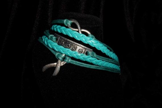 Teal 5 Strand Leatherette Support Ribbon Awareness Bracelet Ic