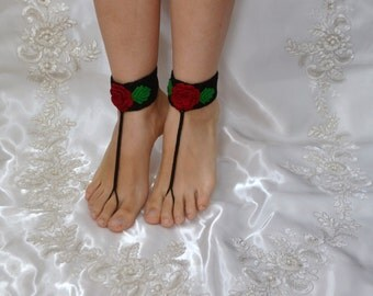 Cotton Crochet Black Sandals with Red Flower and Green Leaves,Barefoot,Wedding,Yoga,Lace, Bellydance, Beach, Bridal accessories, Nude Shoes