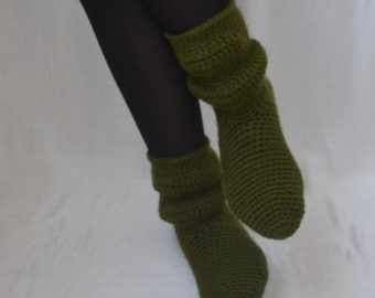 Wool Green Crochet Socks, Home Boots, Home Shoes, Women Accessories, Green House Shoes, Green House Boots