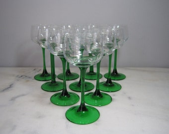 Set of 10 Alsace Green Straight Stemmed Wine Glasses