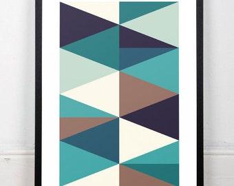 Mountains print, Modern abstract art, Home decor print, Printed art, Abstract print, Triangles geometric, Green geometric art, Wall art