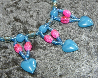 Romantic Heart necklace in blue and pink