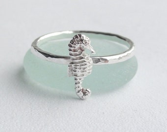 Handmade Sterling Silver Hammered Seahorse Stacking Ring ~ Seaside ~ Beach ~