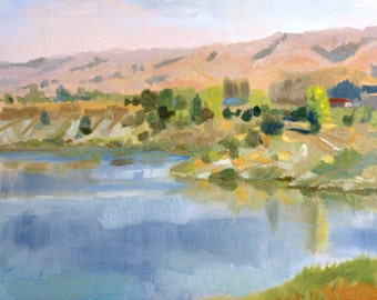 Pink hills. Quarry lake (oil painting)