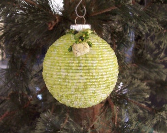 Hand beaded Christmas Ornament. Lime green with Yellow Jasper natural stone.