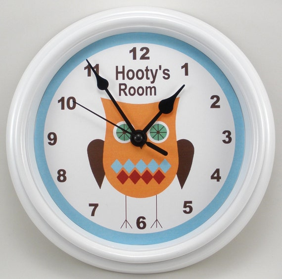 Wall Clock Owl Design : Personalized owl nursery wall clock