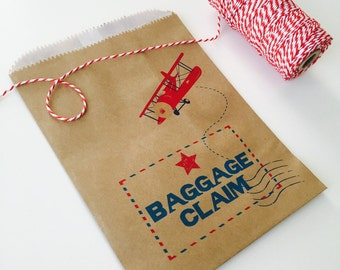 Kids Favor Bags. Airplane party baggage claim favor bags. Birthday party. Treat or candy bag. Lootbag