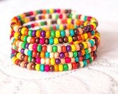 Colorful bohemian bracelet, memory wire wrap bracelet, wood beads, funky fun bracelet, boho jewelry, rainbow bracelet