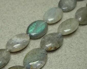 Labradorite smooth oval bead strand 8x10mm