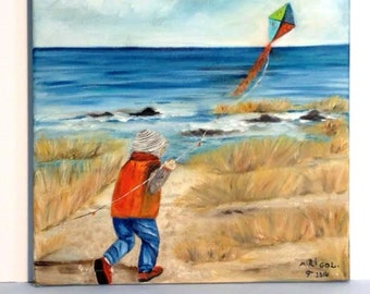 A BOY With a KITE    Beach view,original oil painting on canvas colorful , unique  piece of art    NOW ******** Free Shipping********