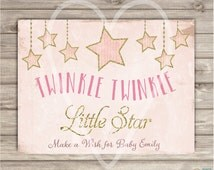 Custom Wording Welcome Sign Twinkle Twinkle Little Star Baby Shower Pink Gold Glitter Theme Digital pdf