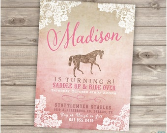 Printable Rustic Lace Horse Birthday Invitations Shabby Chic Country Cowgirl Theme Party girl Rustic Modern Download Invitations NV4001