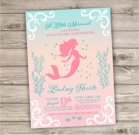 Gratifying image pertaining to printable mermaid baby shower invitations