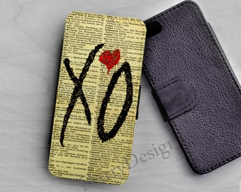 Wallet case, I love XO iPhone 6 Flip case, iPhone 4 / 4s / 5 / 5s /5c case, Wallet Samsung Galaxy S3 S4 S5 case, Samsung Note 2 3 4 wallet