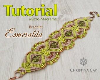 "TUTORIAL PDF Micro-Macrame bracelet ""Esmeralda"" pattern beaded macrame"