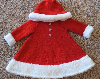 Santa's Christmas Cutie: Cozy Holiday Dress for Baby Girls