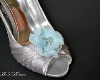 Light Blue Chiffon Flower Shoe Clips | Pearl Rhinestone | Wedding Bridal Something Blue | Shoe Flowers | Bridal Bridesmaid Gifts